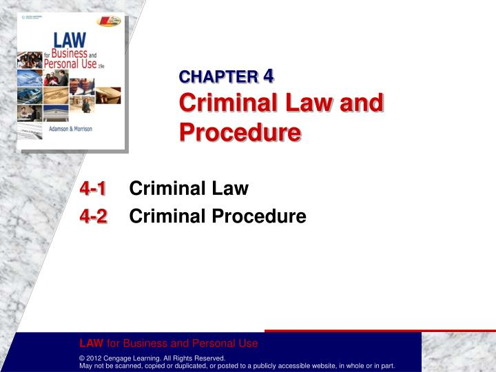 Chapter 4 criminal law and procedure