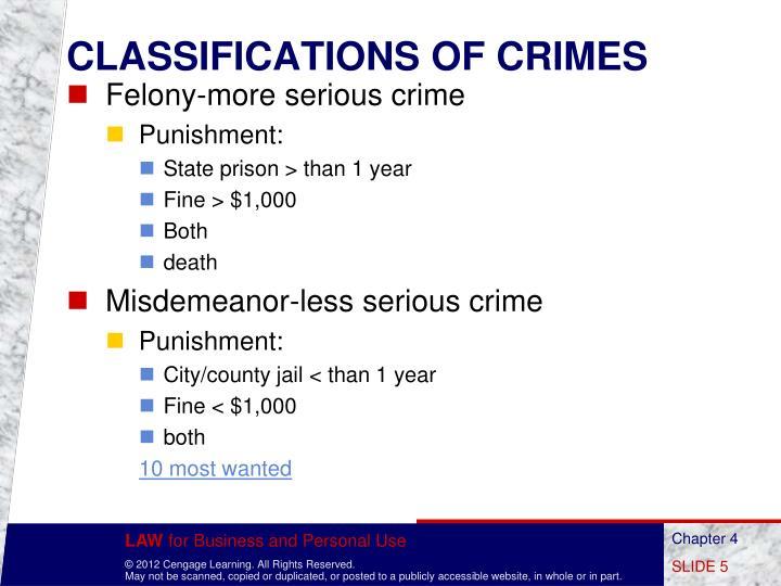 CLASSIFICATIONS OF CRIMES