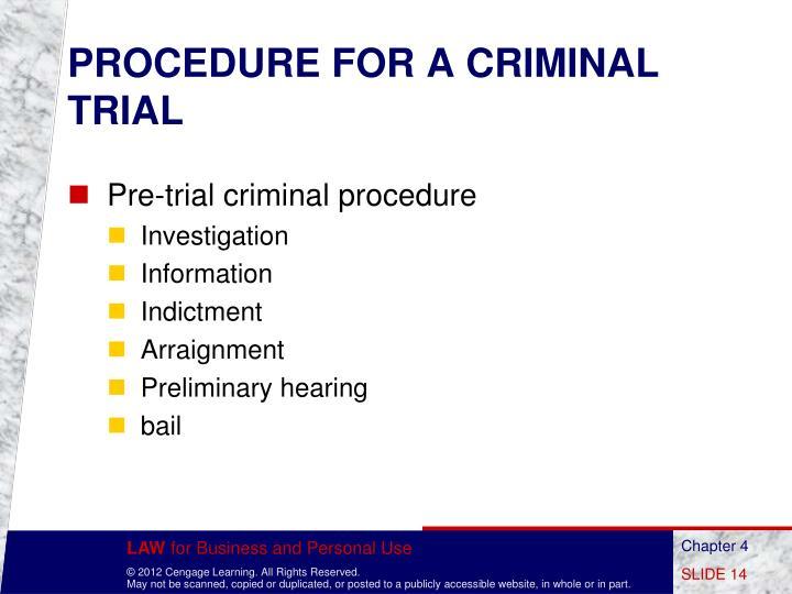 PROCEDURE FOR A CRIMINAL TRIAL