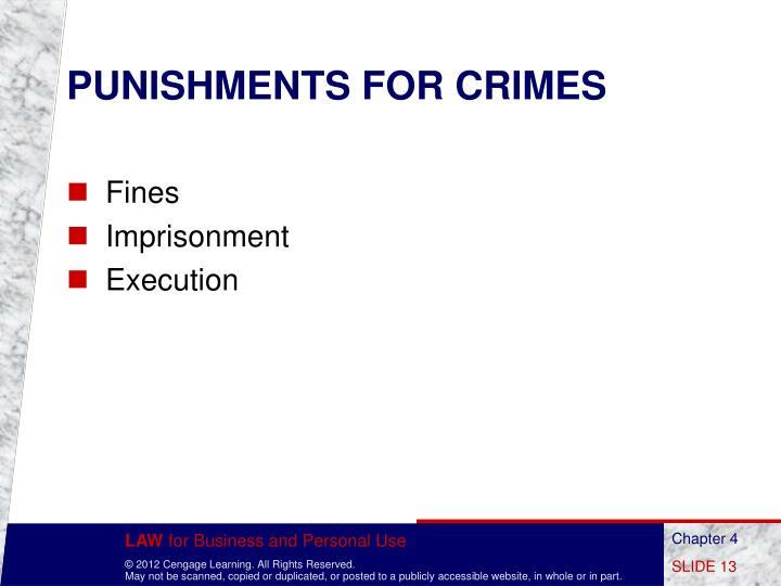 PUNISHMENTS FOR CRIMES