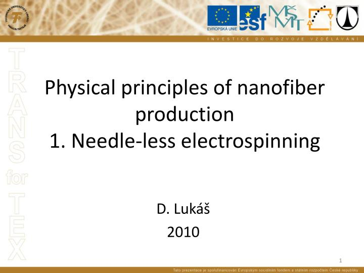 physical principles of nanofiber production 1 needle less electrospinning n.