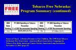 tobacco free nebraska program summary continued