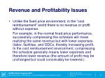revenue and profitability issues