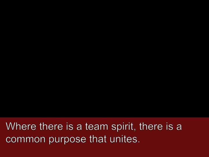 Where there is a team spirit, there is a common purpose that unites.