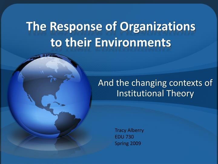 the response of organizations to their environments n.