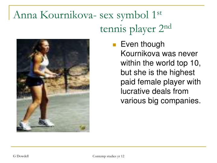 Even though Kournikova was never within the world top 10, but she is the highest paid female player with lucrative deals from various big companies.