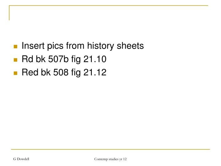 Insert pics from history sheets