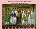 emperor justinian and attendants tile mosaic 540 547 ad