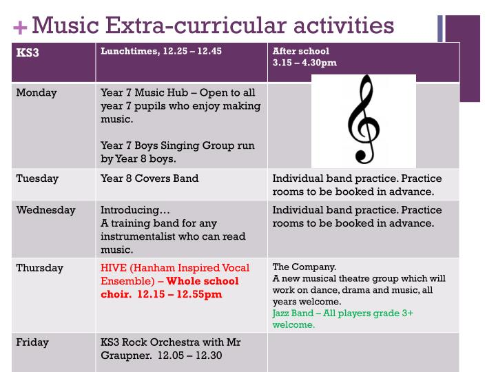 music extra curricular activities n.