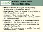 criteria for the ideal threats taxonomy