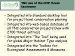 tnc use of the cmp threat taxonomy