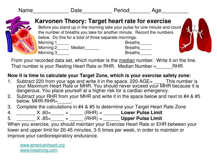 karvonen theory target heart rate for exercise n.