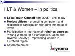 i i t women in politics