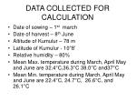 data collected for calculation