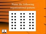 name the following organizational pattern