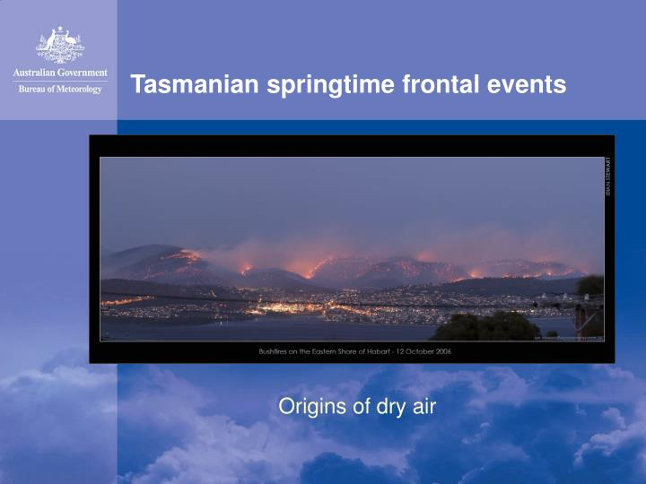 tasmanian springtime frontal events n.