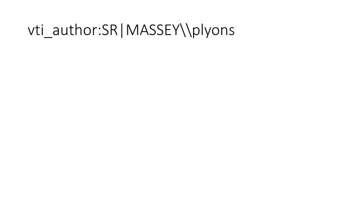 Vti author sr massey plyons