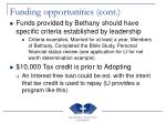funding opportunities cont