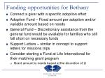 funding opportunities for bethany