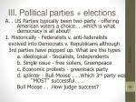iii political parties elections