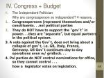iv congress budget