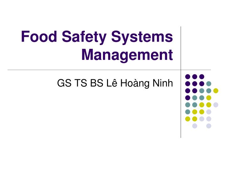 food safety systems management n.