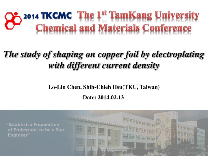 the study of shaping on copper foil by electroplating with different current density n.