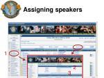 assigning speakers