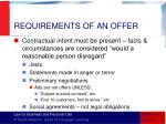requirements of an offer