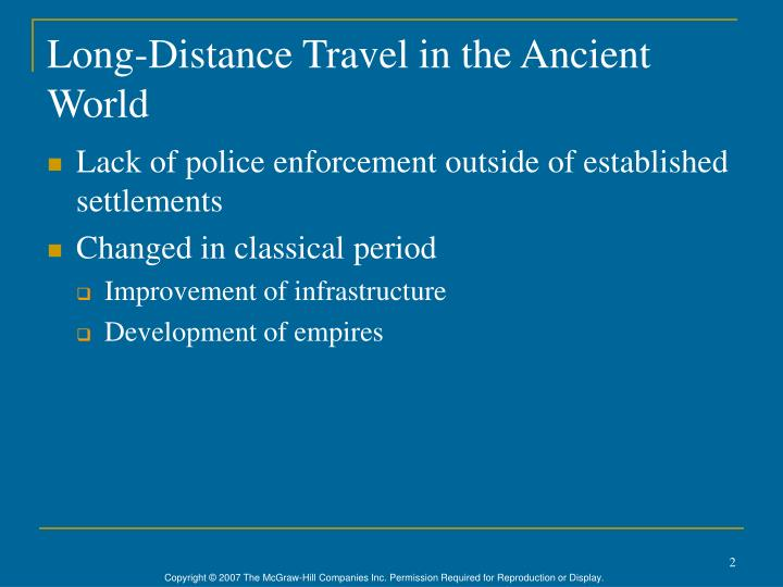 Long distance travel in the ancient world