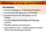 advantages of using a good textbook