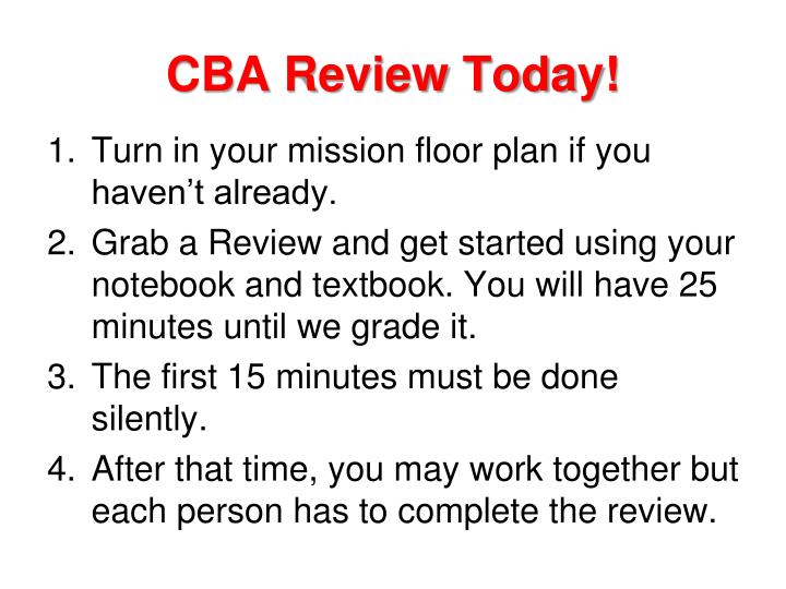 cba review today n.