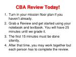 cba review today