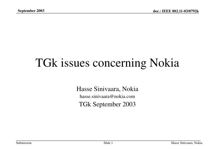 tgk issues concerning nokia n.