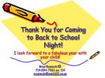 thank you for coming to back to school night