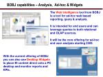bobj capabilities analysis ad hoc widgets