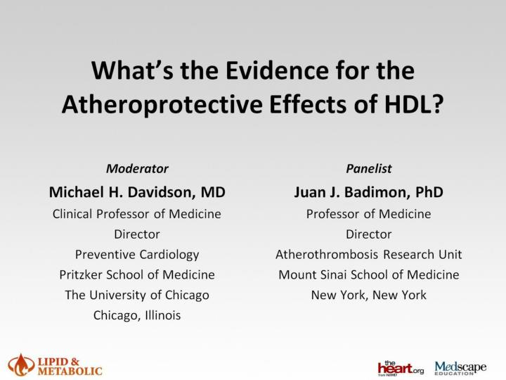 what s the evidence for the atheroprotective effects of hdl n.
