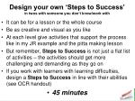 design your own steps to success in twos with someone you don t know work with