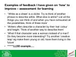 examples of feedback i have given on how to improve assessment for learning