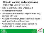 steps in learning and progressing knowledge as in previous slide