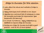 steps to success for this session
