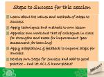 steps to success for this session1