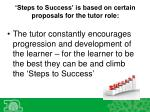 steps to success is based on certain proposals for the tutor role