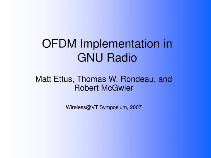 ofdm implementation in gnu radio n.