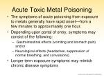 acute toxic metal poisoning