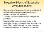 negative effects of excessive amounts of zinc