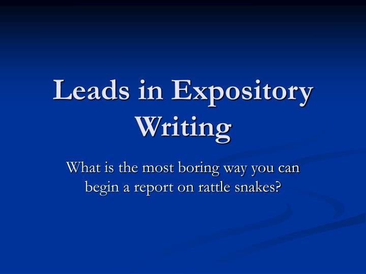 leads in expository writing n.