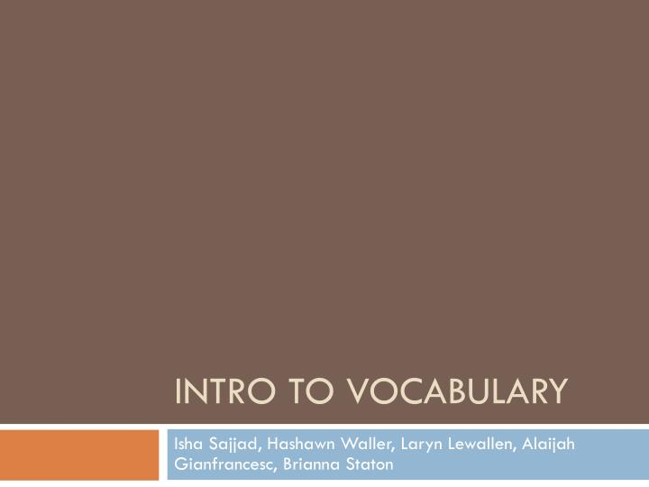 intro to vocabulary n.