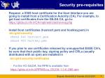 security pre requisites