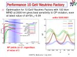 performance 10 gev neutrino factory